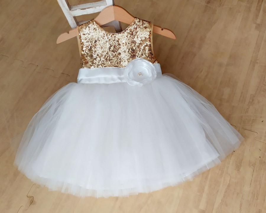 Mariage - Flower Girl Dress Gold and Ivory white, Gold Sequin Tutu Dress, Toddler flower girl dress, Baby wedding dress