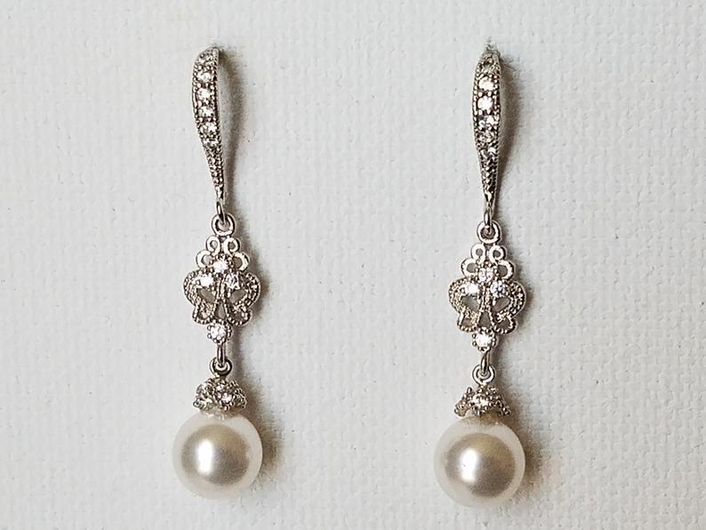 Wedding - Pearl Bridal Chandelier Earrings, Swarovski 8mm White Pearl Silver Earrings, Wedding White Pearl Jewelry, White Pearl Drop Dangle Earrings