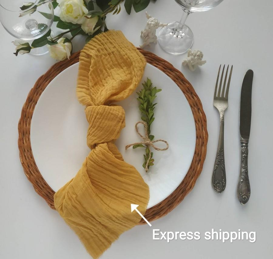 Wedding - Mustard gauze napkins set 4 Cheesecloth napkin Rustic wedding decor Cotton gauze napkins Farm Table Decor cloth festive table