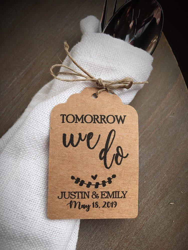 Hochzeit - Tomorrow We Do • Rehearsal Dinner Favors and Silverware Tags • Wedding favor tags