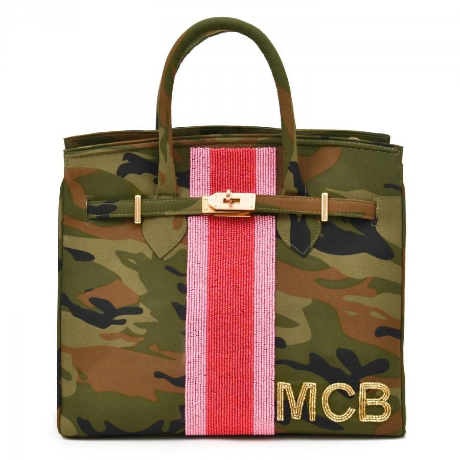 Hochzeit - Jane Bag – Camo – Single Racing Stripe + Initials