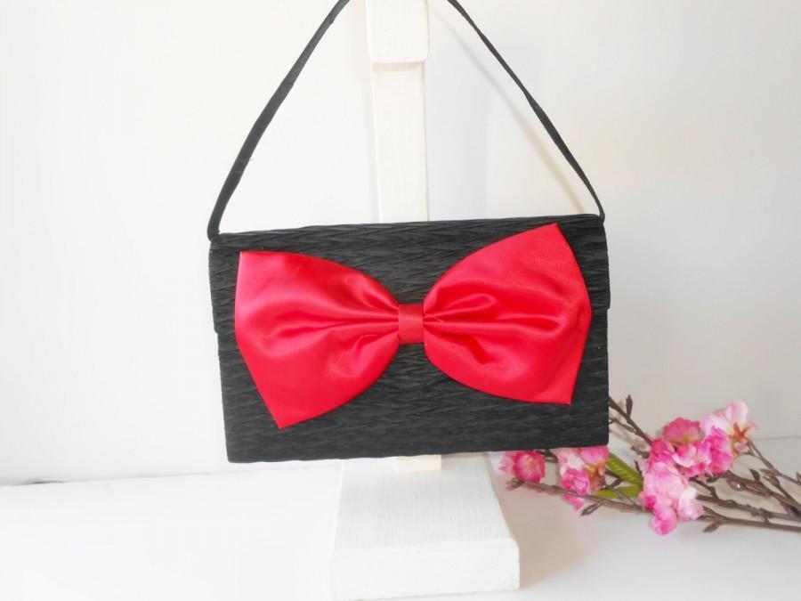 Hochzeit - Vintage Black Evening Bag with Red Bow, Glamorous Handbag, Statement Purse EB-0333