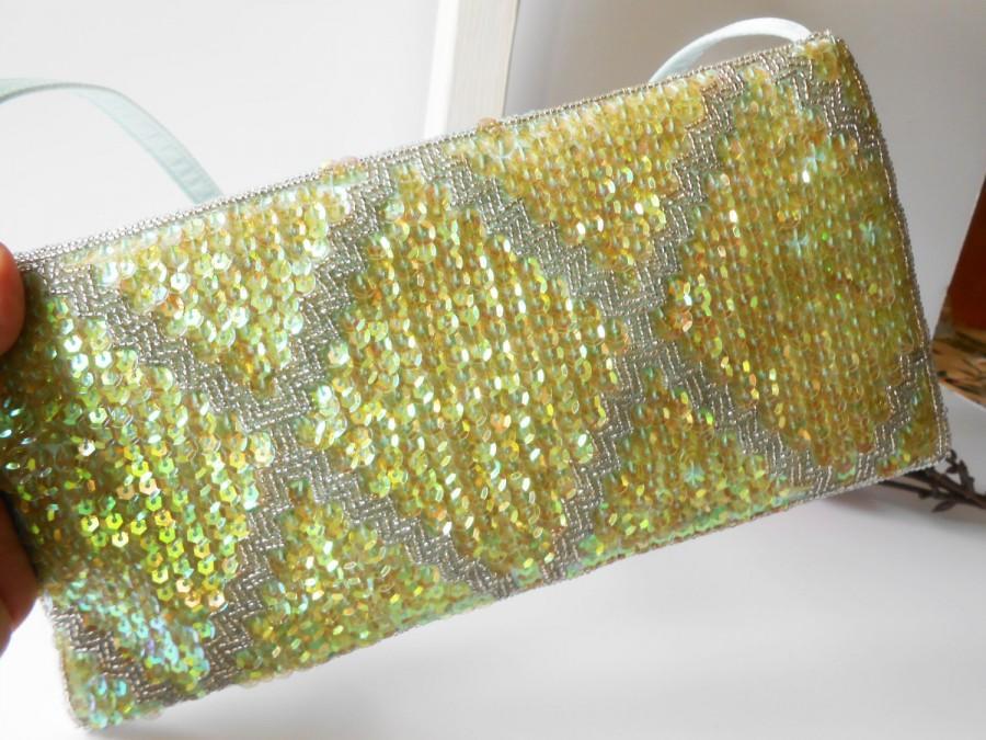 Hochzeit - Vintage Green Evening Bag Beads and Sequins, Green Bead Clutch Handbag,  EB-0615