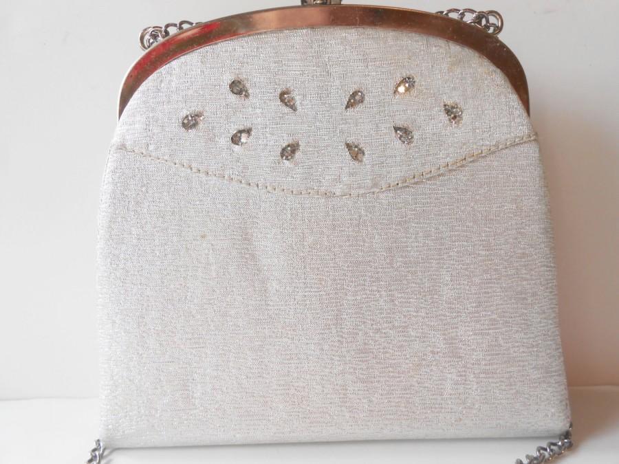 زفاف - Vintage Silver Evening Bag,  Silver Handbag Rhinestone Trim, EB-0163