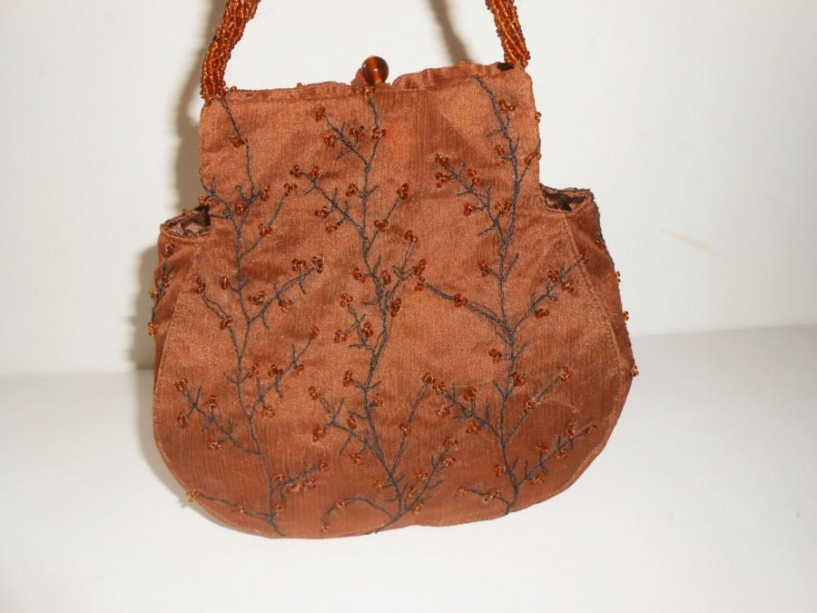 Mariage - Copper Evening Bag, Copper Beaded Bag, Autumn Color Bead Purse,   EB-0378