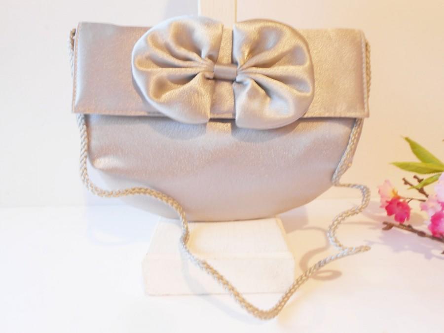 Wedding - Vintage Grey Satin Evening Bag, Glamorous Grey Clutch Bag,  EB-0173