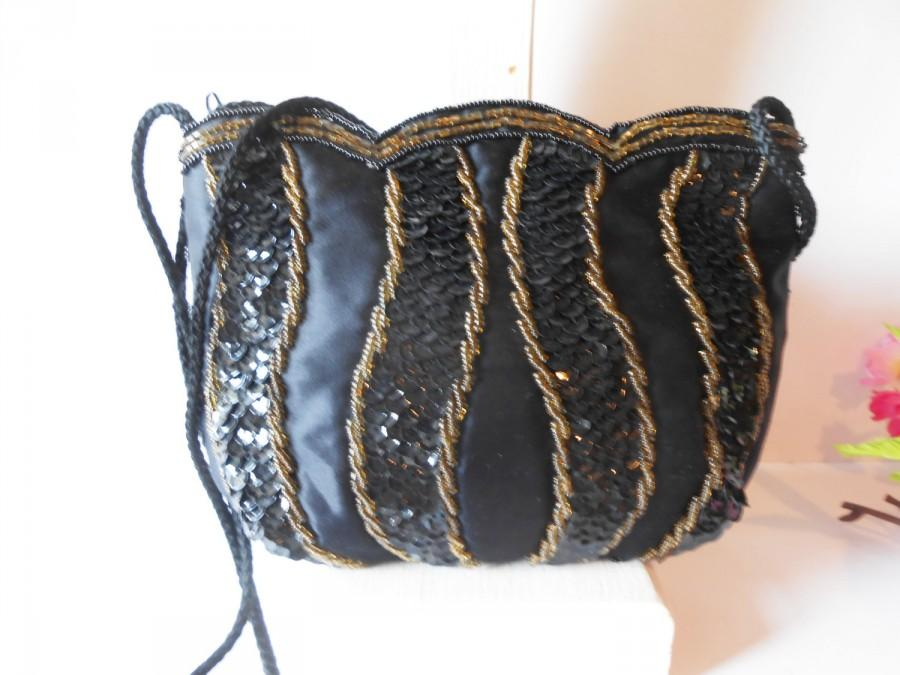 Mariage - Black Beaded Evening Bag, Black Clutch Bag, Cocktail Purse, Black Bead Clutch  EB-0034