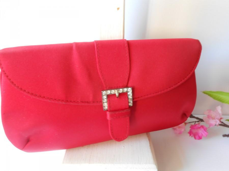 Wedding - Red Evening Bag, Rhinestone Trim, Red Clutch Bag, Glam Red Purse EB-0403