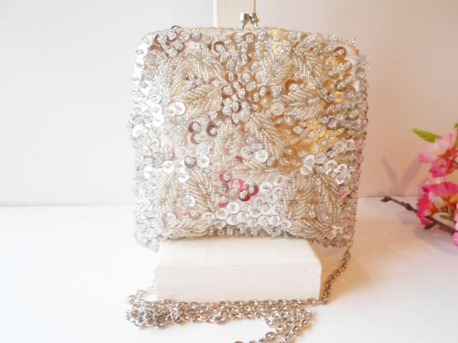 Свадьба - Vintage Silver Evening Bag, Glamorous Silver Beaded Clutch Handbag, Wedding Bridal  EB-0046