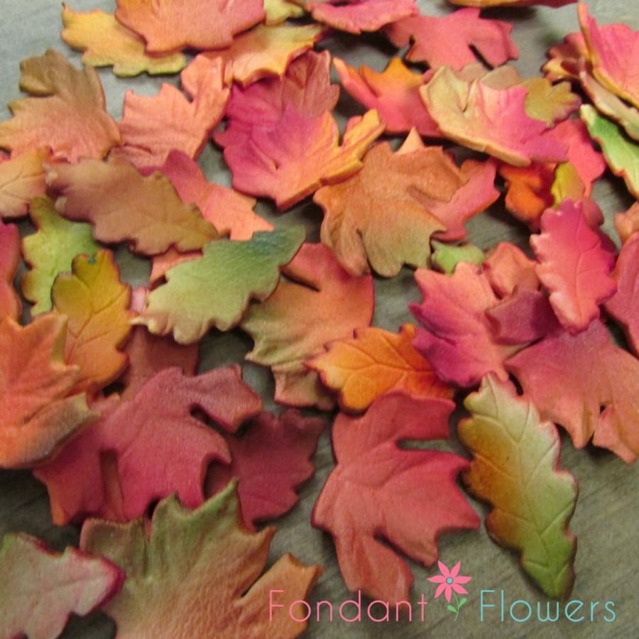 Mariage - 24 Realistic Autumn & Oak Leaves Gumpaste Edible Cupcake Toppers