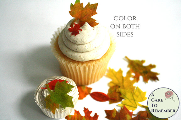 """Hochzeit - 24 mini watercolor edible fall leaves cupcake topper, .5"""" to 1.5"""" with color on both sides , wafer paper. Autumn wedding cake decorations."""