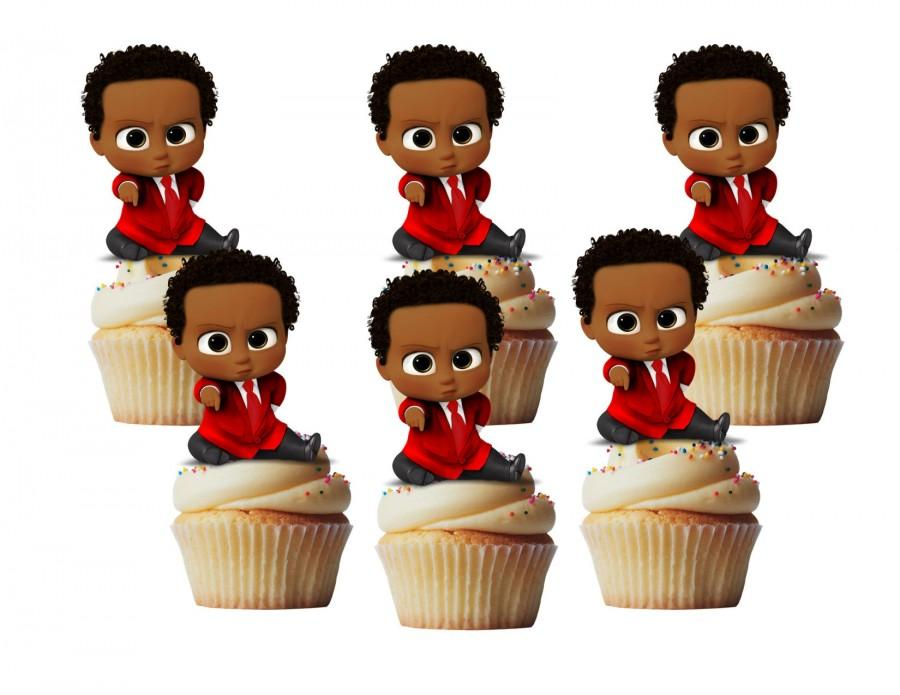 Hochzeit - African  Baby in red suit cupcake toppers/ cakepop toppers