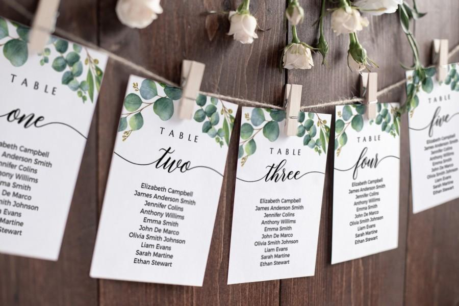 Hochzeit - Seating chart cards, Wedding seating cards, Eucalyptus seating chart cards template #EUC020