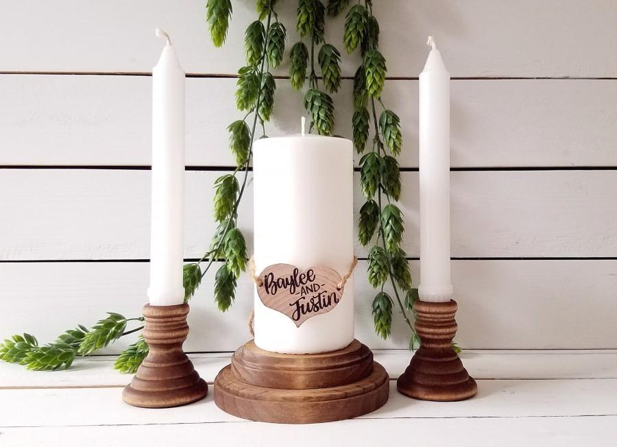 Mariage - Wood Unity Candle Holder Set, Rustic Unity Candle Holders, Wedding Unity Set, Ceremony Unity Set, Personalized Unity Candle Set Holders Only