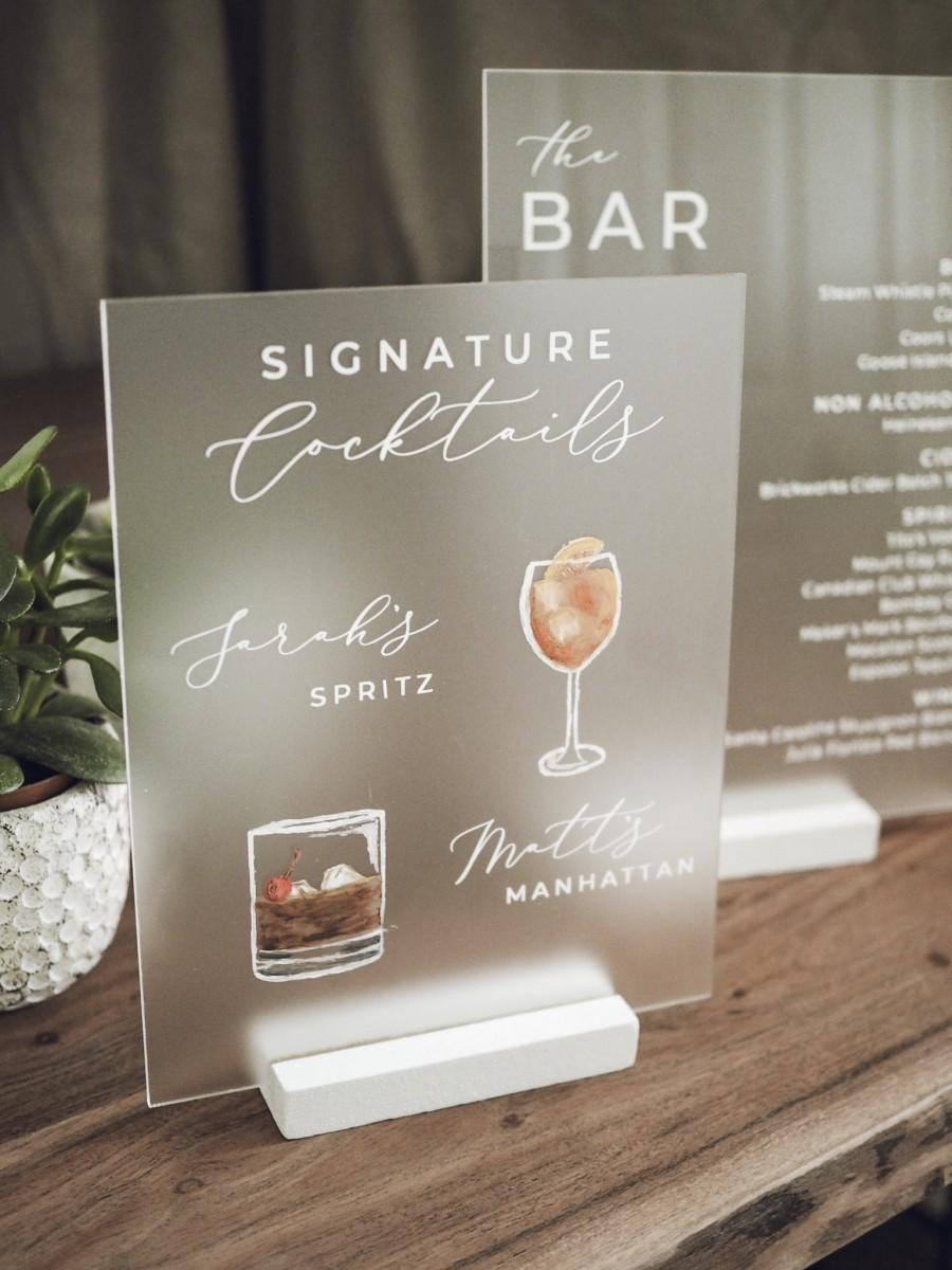 Свадьба - Signature Cocktails Acrylic Sign w/ Drink Illustrations