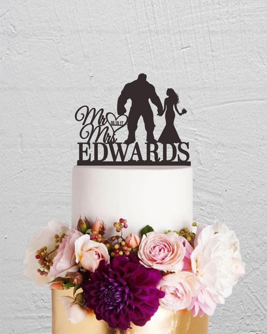 Свадьба - Wedding Cake Topper,The Hulk Cake Topper,Bride And Groom Cake Topper,Mr Mrs Cake Topper,Custom Cake Topper,Last Name Cake Topper