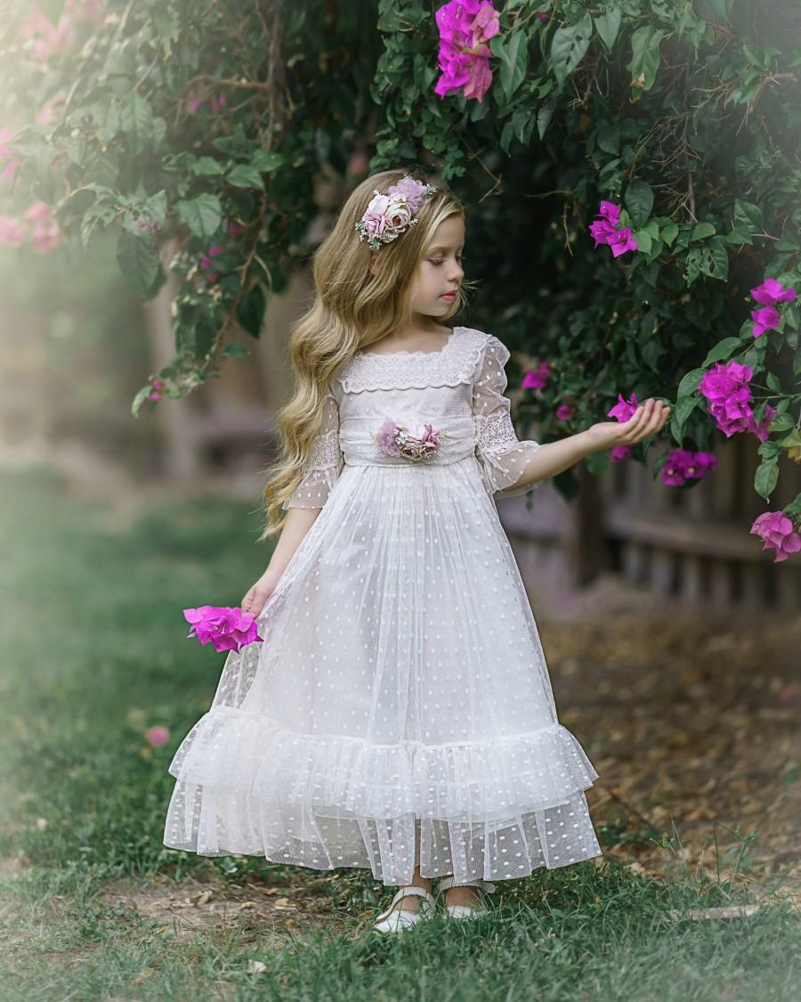 Wedding - White Flower Girl Dress, Communion Dress, White Lace Dress for Girls, Rustic Flower Girl Dresses, Bohemian Flower Girl Dress, Baby Dress