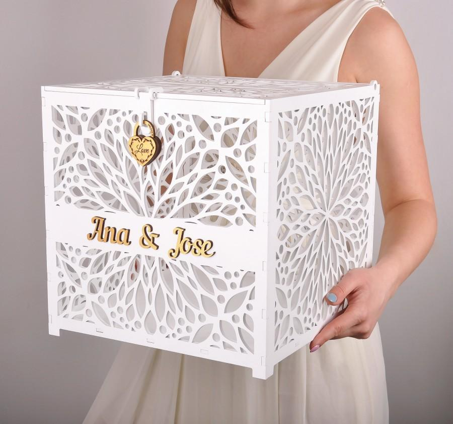 Wedding - wedding card box with lock. wedding card holder. wedding post box