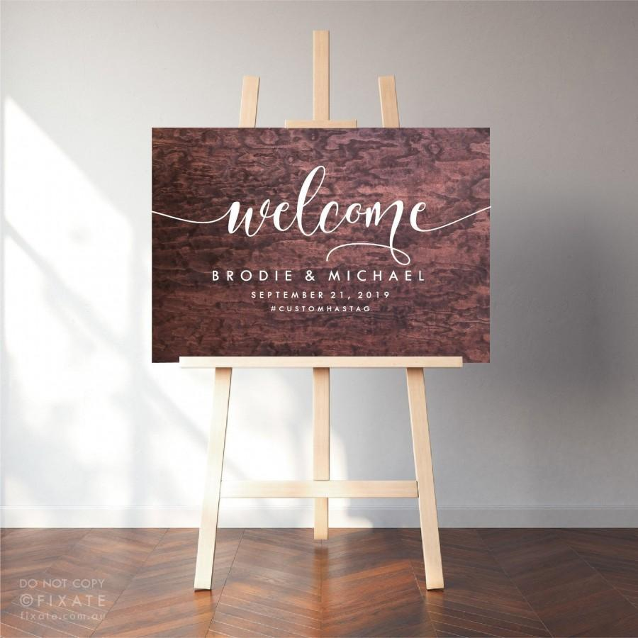 Wedding - Wedding Sign Decal Welcome Sign Sticker Wedding Decor Vinyl Decal Welcome To Our Wedding Custom Names Personalised Date Hashtag Signage