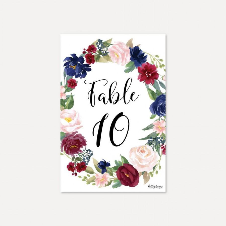 Wedding - Elegant Navy and Burgundy Wedding Table Numbers Template - DIY Table Numbers for a Wedding, Editable Printable Table Numbers, Digital