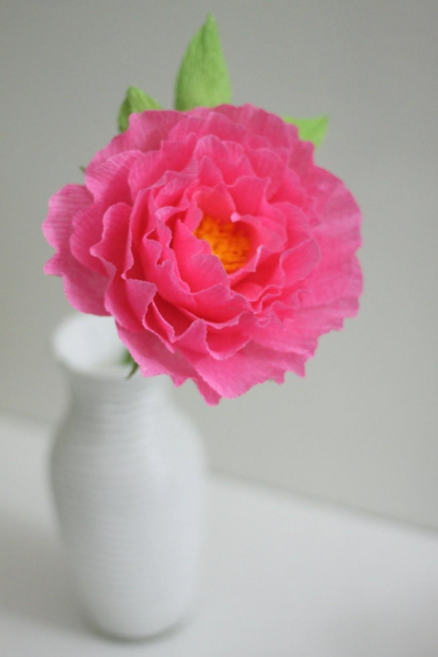 Wedding - Large paper peony for bridal bouquet and bridesmaid bouquet.