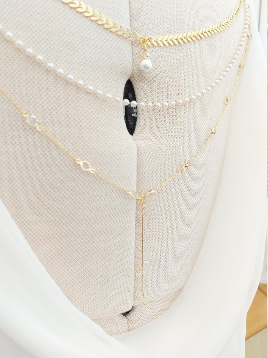 Mariage - Bridal backdrop, back chain, bridal necklace