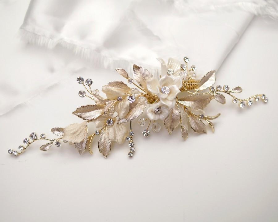 Wedding - NEW Gold Floral Rhinestone Wedding Hair Clip with Ivory Clay Flowers, Bridal Hair Accessory, Gold Bridal Leaf Headpiece  - 0771