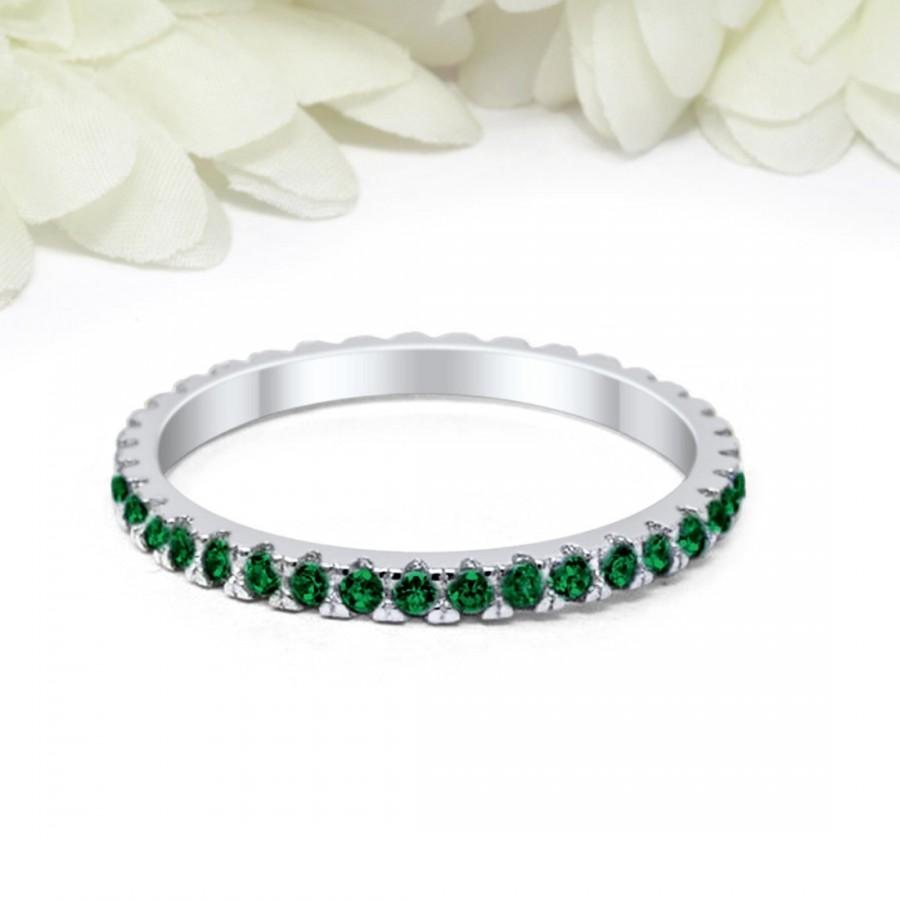 Wedding - 2mm Full Eternity Stackable Band Ring Simulated Emerald Green CZ Solid 925 Sterling Silver Wedding Band, Eternity Band