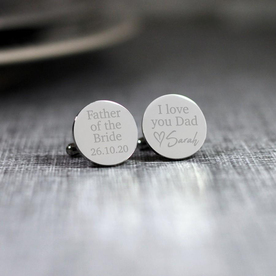 Wedding - Personalised Engraved Father of the Bride Cufflinks, Personalised Wedding Cufflinks, Engraved Cufflinks, Father of the Bride Gift