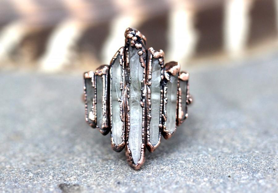 Wedding - Raw Crystal Ring Alternative Engagement Ring Crystal Point Ring Raw Crystals and Stones Raw Crystal Jewelry