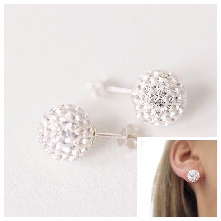 Mariage - Crystal Stud earrings, stud earrings, Sterling silver crystal studs, crystal studs,  Crystal earrings, silver studs, Bridesmaids earrings