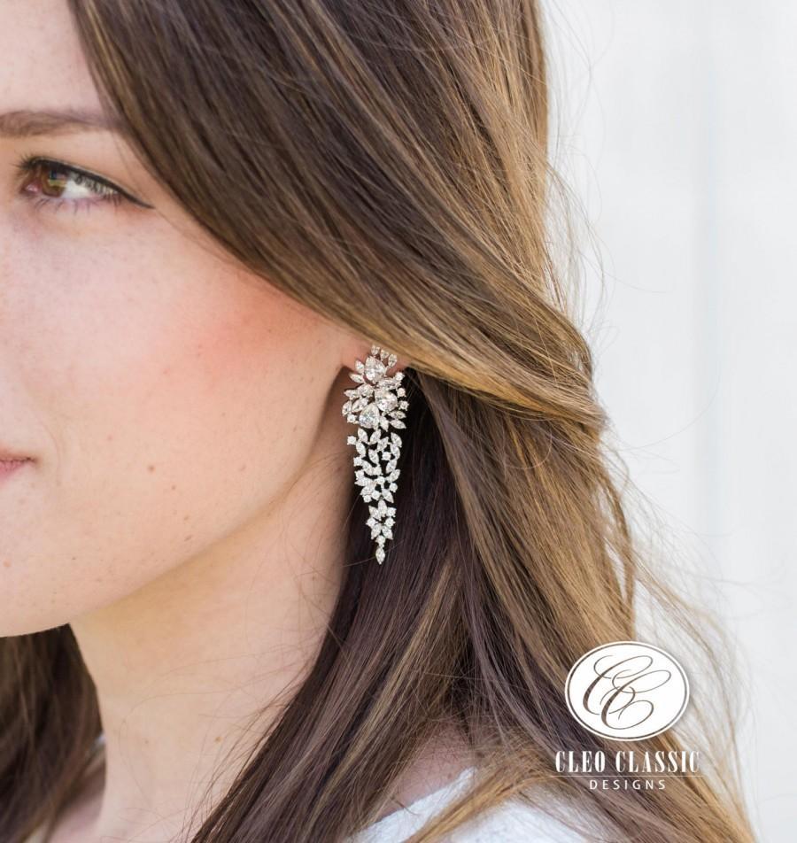 Mariage - White Gold Bridal Drop Earrings