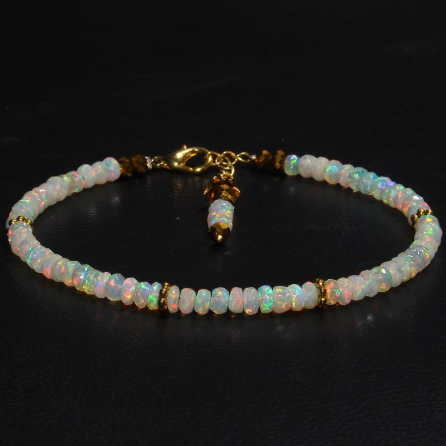 Hochzeit - Faceted Opal Bracelet - Natural Ethiopian Faceted Opal Bracelet - Silver Opal Bracelet - Multi Fire Opal Bracelet - White Opal Jewelry