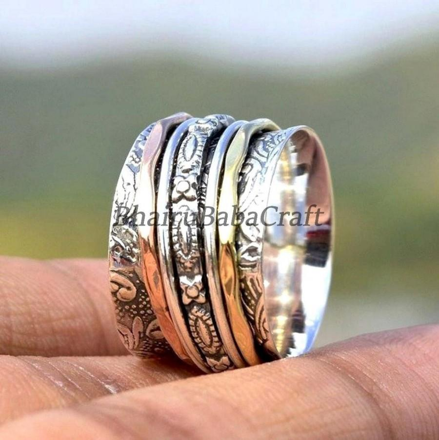 Hochzeit - Three Tone Spinner Ring, 925 Silver Ring, Spinner Meditation Ring, Spinner Rings For Women, Multi Spinner, Boho Ring, Perfect Gift For Her