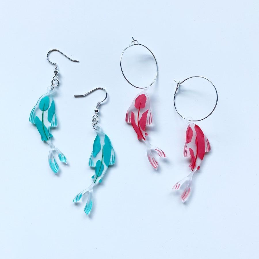 Hochzeit - Fish Shrinky Dink Earrings