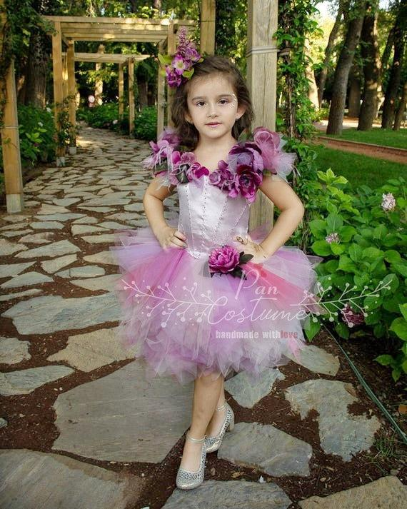 Wedding - Flower Girl Dress, Floral Ring Bearer Dress, Ball Gown for Kids, Floral Party Dress, Purple Fluffy Tutu, Flower Girl Gown, Purple Ball Gown