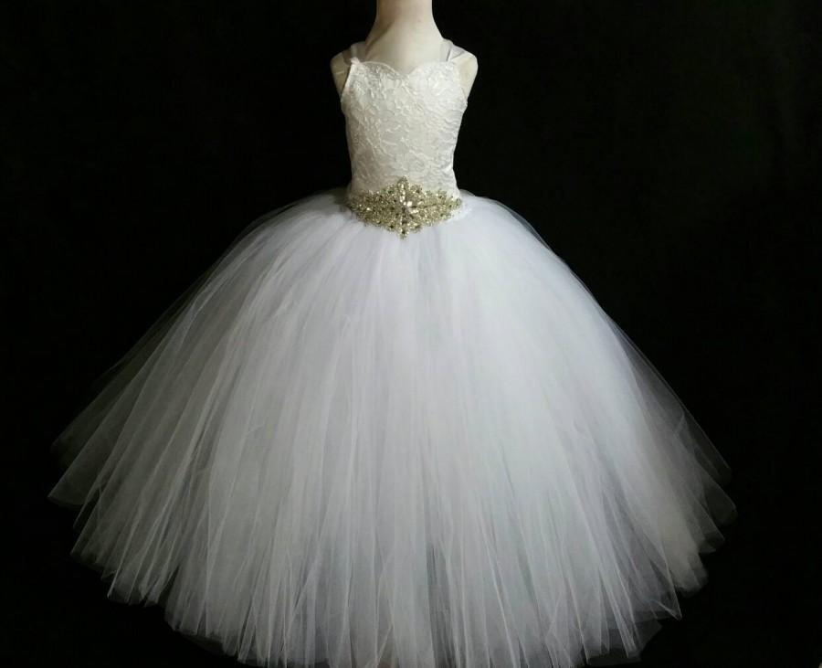 Свадьба - White corset dress/White rhinestone belt flower girl dress/Bridesmaid dress(FULLY LINED/many colors available)