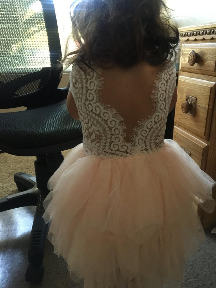 Wedding - Blush Tulle Flower Girl Dress, Lace Boho Chic Dress, Unique Beach Wedding Dress