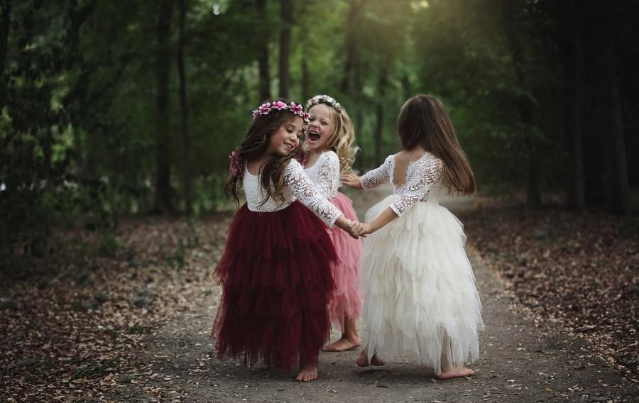 Wedding - Tea Length Tiered Tulle Tutu Lace Top Scalloped Edges Back Party Flower Girl Dress