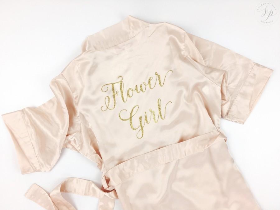 Свадьба - Flower girl robe - Junior Bridesmaid robe - Bridesmaids Robe - Bride Robe - Wedding Day Robe - little girl Robe - Bride Satin - Blush Robe