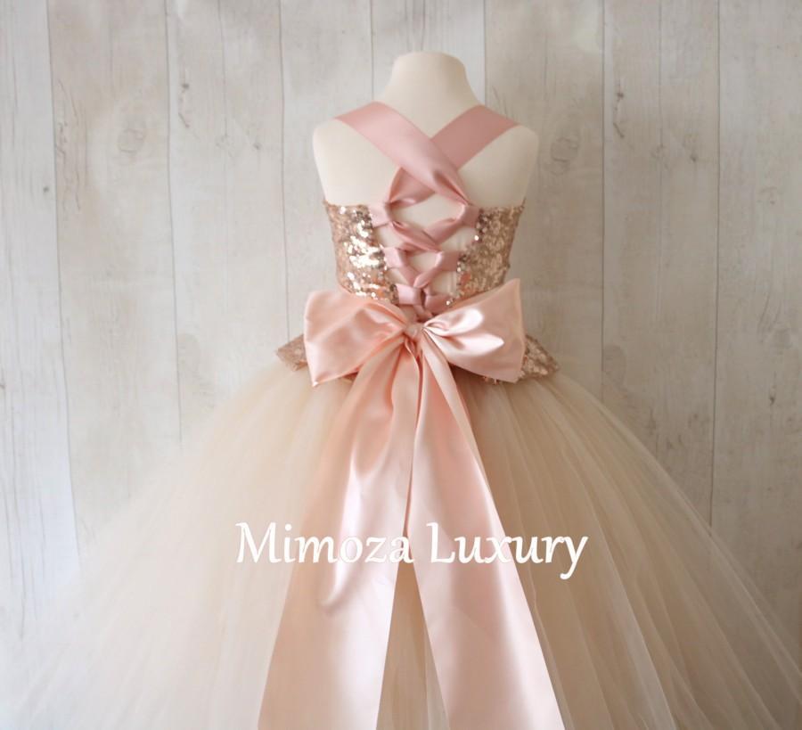 Свадьба - Bespoke Rose gold Champagne flower girl dress, champagne bridesmaid dress