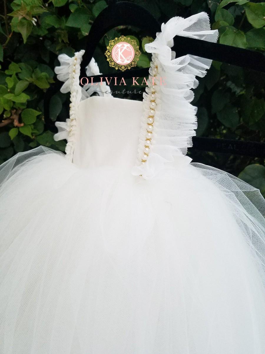 Wedding - Pearl Flower Girl Dress, Tulle Tutu Dresses, Weddings, V Back Plunge, Flutter Sleeve, Full Length Dress, Toddler Dress, Pearls Embellished