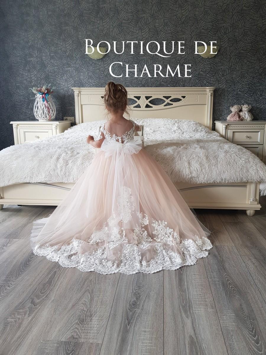 Свадьба - White flower girl dress,Toddler train dress, Lace flower girl dress,Baby tulle dress,Princess flower girl dress,Tutu dress,Custom girl dress