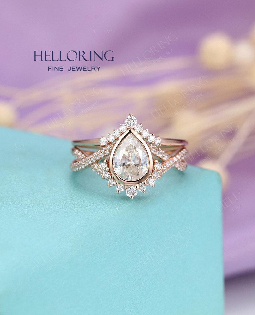 Wedding - Vintage Moissanite/Forever One moissanite engagement ring set,Rose gold Pear shaped wedding ring set, Curved diamond/moissanite Anniversary