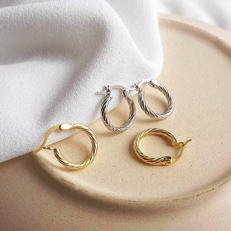 Wedding - WILLA -  Dainty vintage style gold huggie hoop earrings w/ French spiral twist hoops boho minimalist classic stacking hoop earring stack