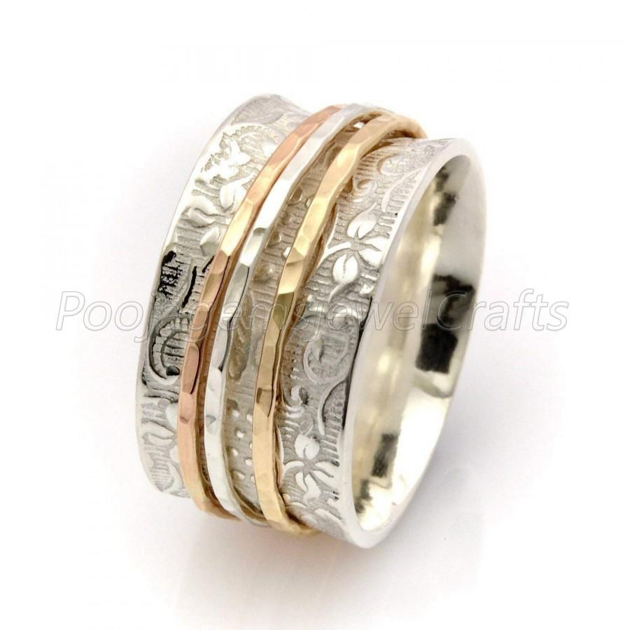 Wedding - Solid 925 Sterling Silver Spinner Ring Silver Fidget Jewelry Three Tone Spinner Ring Meditation Wide Band Ring Statement Spinner Ring #14