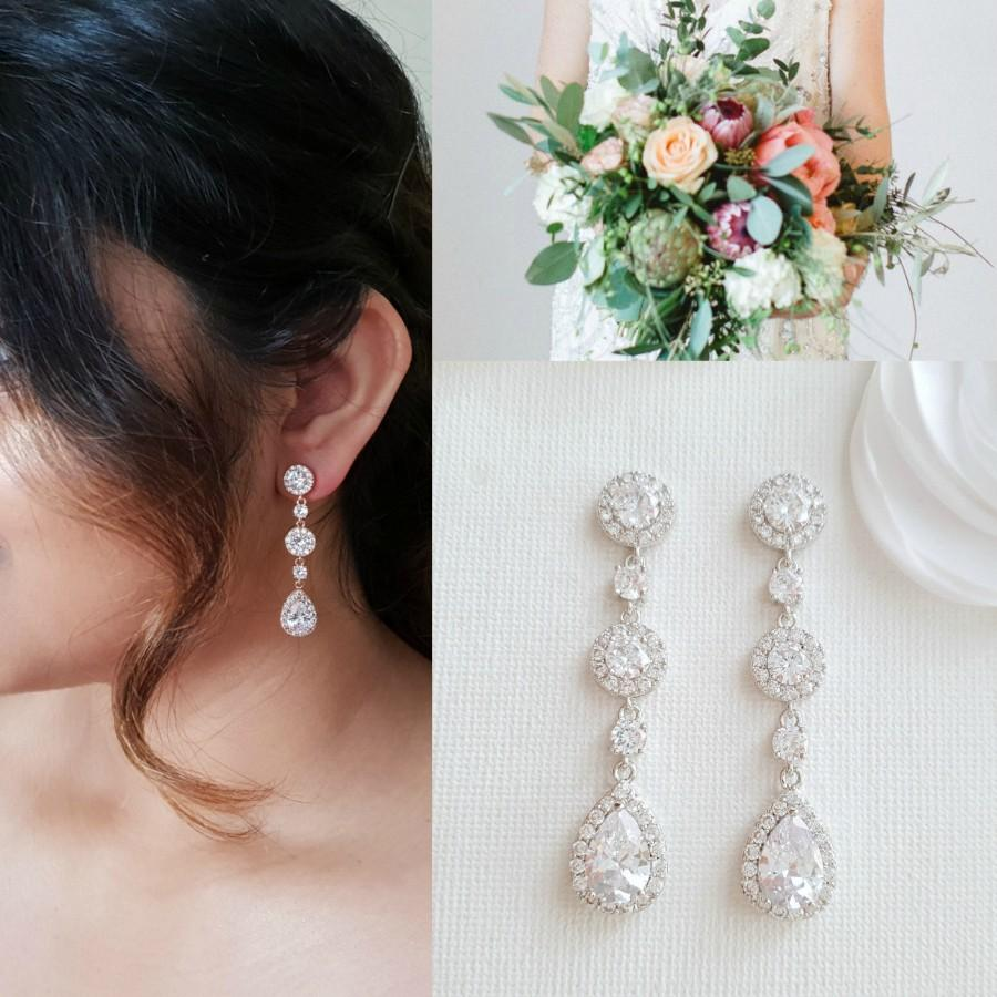 Свадьба - Long Teardrop Bridal Earrings, Drop Earrings For Wedding Day, Cubic Zirconia Bride Earrings, Bridal Jewelry, Reagan