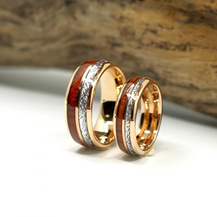 Mariage - Meteorite & Tungsten Wedding Band Set  Wood Rose Gold Wedding Ring Set Matching Womens Mens His And Her Promise Ring Free Custom Engraving