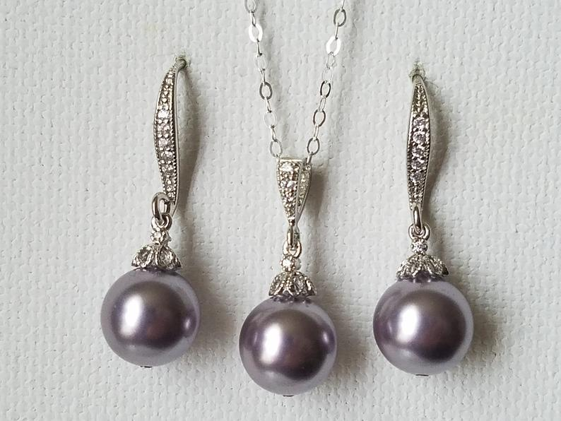 Hochzeit - Light Purple Pearl Set, Swarovski Mauve Pearl Earrings&Necklace Set, Light Purple Jewelry Set, Mauve Pearl Earrings, Purple Wedding Jewelry