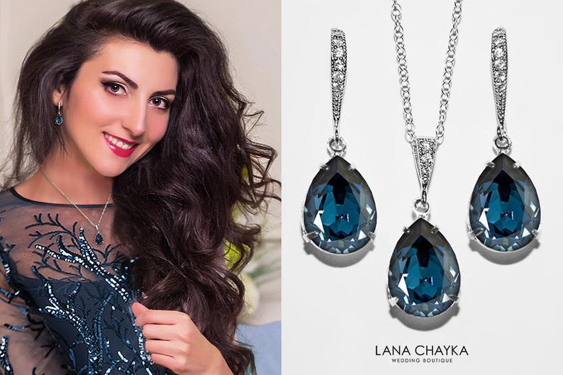 Hochzeit - Navy Blue Crystal Jewelry Set, Swarovski Montana Blue Silver Set, Dark Blue Earrings&Necklace Bridal Set, Prom Jewelry, Bridesmaids Jewelry